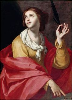 """""""Saint Lucia"""" by Francisco de Zurbarán (1598-1664) - """"He worked for churches & monasteries over a wide area of southern Spain and his paintings were also exported to South America. His simple compositions & emotionally direct altarpieces, combining austere naturalism with mystical intensity, made him an ideal Counter-Reformation painter."""""""
