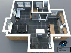 Huis indeling, het licht element komt er veel in terug. Dit is een indeling van een vrijstaand huis.