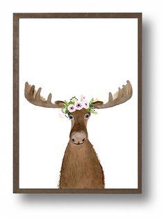 Aquarell Elche Elche Malerei Tier Bilder Fuchs Bär von zuhalkanar