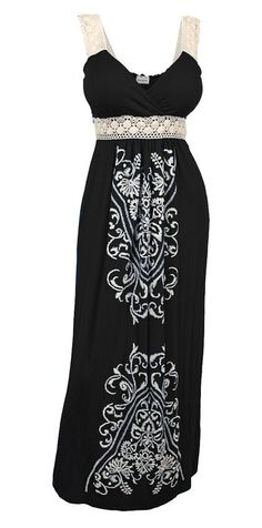 3367d885ea6 eVogues Plus Size Embroidery Print Empire Waist Maxi Dress at Amazon  Women s Clothing store