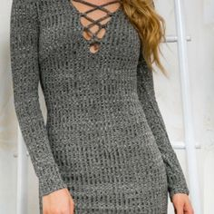 Grey long sleeved bodycon dress Stretchy material that is lightweight even though it looks like a sweater! V neck lace up in the front. Zips down the back. Dresses Long Sleeve
