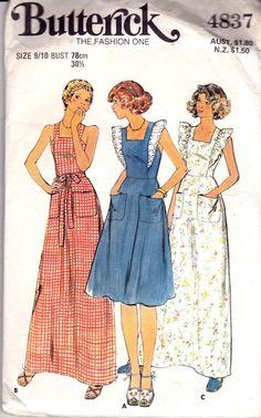 Butterick 4837 70s Sundress Maxi Dress Pattern Crossover Back Shoulder Ruffles Size 9/10 YJT
