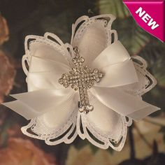 Italian Confetti Flower Favors with Pendant Rhinestones Cross myitalianfavors.com™