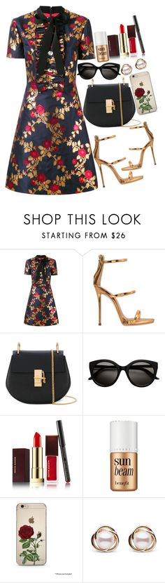 """Untitled #1822"" by mihai-theodora ❤ liked on Polyvore featuring Gucci, Giuseppe Zanotti, Chloé, Kevyn Aucoin, Benefit and Trilogy"