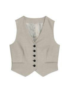 Cropped Waistcoat - Beige - Tailoring - ARKET GB H&m Group, Pocket Detail, Welt Pocket, Fitness Fashion, Vest, Slim, Beige, Women, Style