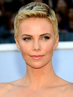 The Updated Pixie ~~ Spring's freshest shorn styles have texture and lift like Charlize Theron's. Get the look by sweeping back your bangs and raking on a touch of pomade. CHECK OUT MORE SHORT HAIRSTYLES AND HOW-TOs