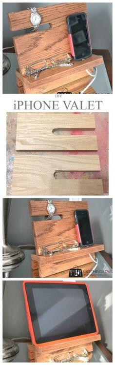 DIY wood iPhone stand, wood iPhone stand, wood iPhone dock, iPhone valet, nightstand valet, iPad valet