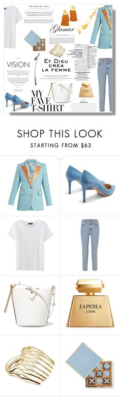 """""""Dress Up a T-Shirt"""" by nina-lala ❤ liked on Polyvore featuring Racil, Prada, Bassike, Sophie Hulme, La Perla, Tiffany & Co., Lizzie Fortunato and MyFaveTshirt"""