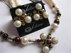 Red Garnet and White Pearl Flower Necklace Set