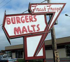 Fresh Freeze - Burger Malts neon sign #vintage #neon #sign