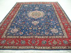 8 x 11 PERSIAN TABRIZ Hand Knotted Wool BLUE RED FINE Oriental Rug Carpet #TraditionalPersianOriental