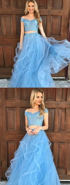 fashion two piece blue prom dresses, unique off the shoulder prom dress with short sleeves, elegant 2 piece party dresses with appliques