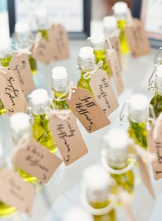 Olive oil favors perfect for a Tuscan wedding: www.stylemepretty... | Photography: Sophie Epton Photography - www.sophieepton.com/ For more wedding inspiration check out our wedding blog www.creativeweddingco.com