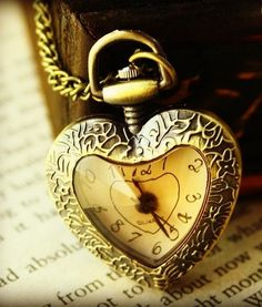 Vintage Style Heart Clock Necklace - Save 80% Just $16.95