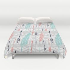 hipster pattern Duvet Cover by Julia - $99.00