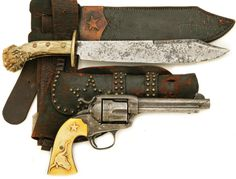 Relief engraved ivory handled Colt Bisley with original rig and antler handled bowie knife. Late 19th century.