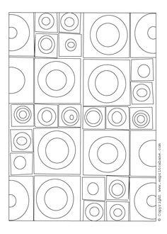 motif graphiques carrés et ronds à reproduire