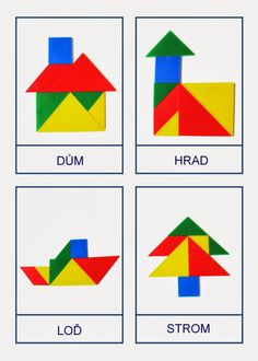 Tangram - předlohy Origami, Task Boxes, Crafts For Kids, Activities, Projects, Montessori, Albums, Wood Toys, Preschool