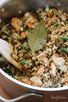 Dirty Brown Rice with Shrimp  Skinnytaste.com        Ingredients:        1 1/2 cups uncooked brown rice      chicken bouillon cube (Knorr)      2 bay leaves, divided      1/8 + 1/4 tsp cayenne, divided      1/8 + 1/2 tsp paprika      1/8 + 1/2 tsp thyme      1 tsp oil      1 onion, diced      2 ce