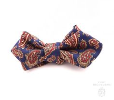 Ancient Madder Silk Bow Tie in Blue, Red & Buff Paisley - Fort Belvedere