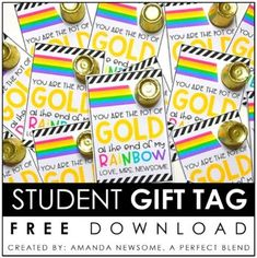 "Looking for an easy, inexpensive treat for your students? Simply print these tags and attach a gold coin or Rolo candy as the ""pot of gold!"" Your students will love it! Enjoy! Customer Tips: How can I earn TPT credits to use on future purchases? • Please go to your"