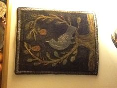 Primitive hooked rug - Original Partridge in a Pear Tree
