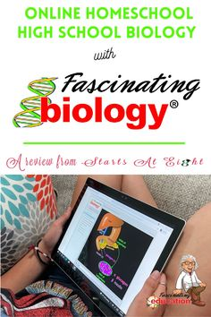 """Online Homeschool High School Biology with Fascinating Education flips the teaching process by approaching science through the """"right-hemisphere"""" of the brain. Using simple, colorful illustrations, supplemented with attached audio files to teach high school biology concepts. A review from Starts At Eight High School Curriculum, Homeschool Curriculum Reviews, High School Biology, Science Curriculum, Biology For Kids, High School Activities, Homeschooling, Online High School, High School Years"""