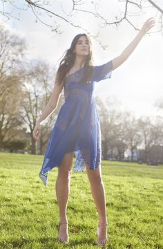 Dua Lipa in #SS16 Stella McCartney Cobalt Noah dress and Powder strap sandals.