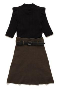 Black Knit Mini Dress with Belt