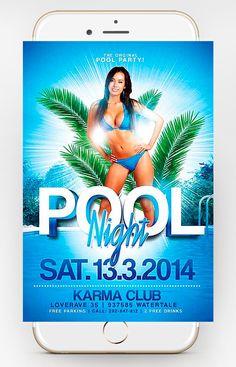 Free Pool Party Flyer - Dussk Design http://dusskdesign.com/shop/free-pool-party-flyer/