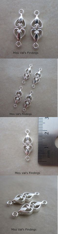2 Sterling Silver Prong Style Detailed Leaf Bails For Pendant /& Cross Drilled