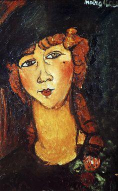 TÊTE DE FEMME AVEC UN CHAPEAU (LOLOTTE) Lolotte était une des innombrables filles, la plupart de province, qui se rassemblaient dans le quartier des artistes à la recherche de sensations fortes et de nouvelles manières de vivre. En voyant son modèle dans la solitude de son atelier ( Modigliani ne tolérait pas de visiteurs lorsqu'il travaillait ), l'artiste a étudié soigneusement chaque détail.