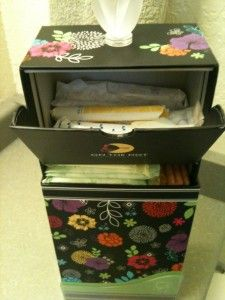 On the Dot Perfect Spot - What a pretty way to store tampons and pads!