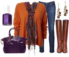 """""""Orange & Purple"""" by qtpiekelso ❤ liked on Polyvore"""