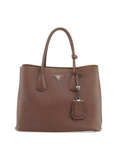 V2B1H city calf double bag in cacao brown // prada