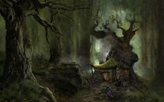 cottage in forest by lake evil - Google Search
