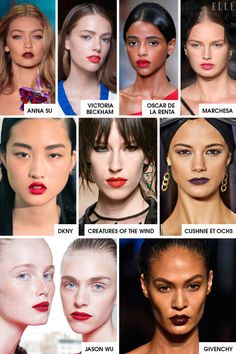 """The Shows: Jason Wu, Givenchy, DKNY, Marchesa, Cushnie et Ochs, Anna Sui, Oscar de la Renta, Creatures of the Wind, Badgley Mischka, Victoria Beckham The Breakdown: Let your lips do all the talking in vibrant shades of crimson, pink, orange, and oxblood. The key to keeping it fresh and young is to pair a perfect pout with """"scrubbed skin,"""" said backstage pro Yadim, who skipped a full face of foundation in favor of concealer to cover any blemishes at both Jason Wu and DKNY. A brushed-up…"""
