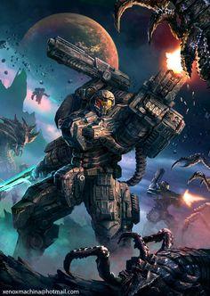 Starship Troopers by AlienTan on DeviantArt Daedric Armor, Mandalorian Armor, Futuristic Armour, Futuristic Art, Robot Concept Art, Armor Concept, Fallout Power Armor, Space Armor, Halo Armor