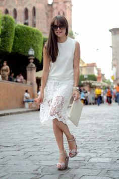"Perfect ""all White"" look, a classic spring outfit.  Looks amazing with our Claire Platforms!"