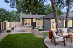 Wonderful Concept for Backyards Design: Astonishing Contemporary Home Landscape Idea For Awesome Backyards Designs With Leafy Trees And Gravel Covering The Patio Floor ~ loopclimb.com Backyards Inspiration