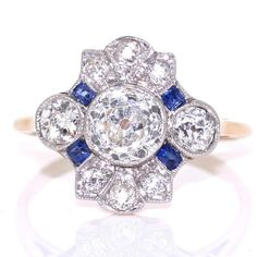 Edwardian Diamond and Sapphire Cluster Ring - 18ct Gold and Platinun