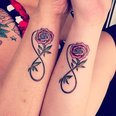 #infinity #rose #bff #bestfriends #friendstattoo #infinitytattoo #friendshiptattoo #tattoo #tattooshop #girltattoo #friends #ladylucktattoo #weert #