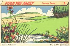 """""""Find the Fault,"""" vintage cigarette card (daffodils & bramble berries in same season, when one blooms in spring & the other ripens in autumn)"""