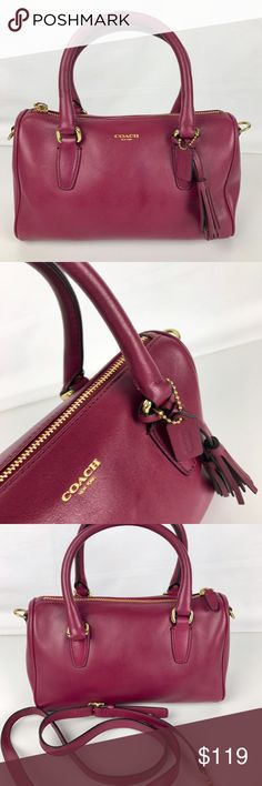 """Coach Legacy Leather Mini Satchel Handbag Condition:  Gently used. Good condition inside with some marks from handling outside, primarily on the bottom of the bag  Top zip closure Interior with a slip pocket Brass tone hardware Coach leather hangtag and double tassel Measure 10"""" x 6"""" x 4"""" Double handle straps with 4"""" drop and adjustable, removable shoulder strap with dog leash ends with 21""""     Thank you for your interest! No Trades please. Coach Bags Satchels"""