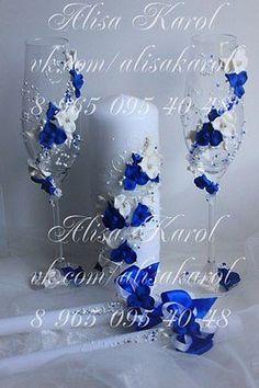 синие Свадебные бокалы для шампанского и единства cnadles