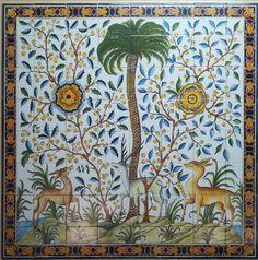 liebevoll ausgestaltetes Kachelbild,  von Hand gemalt in Portugal Portugal, Curtains, Shower, How To Make, Prints, Tiles, Tiling, Pictures, Rain Shower Heads