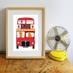 double decker bus print
