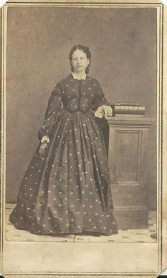 CDV Photo Lovely Young Woman Nice Repeat Pattern Large Hoop Dress Civil War Era Signed Yours truly, Ettie (cant read the rest), WB Field, Morris,IL | eBay