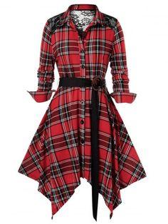 Plus Size Plaid Floral Lace Panel Handkerchief Dress Plus Size Dresses, Plus Size Outfits, Trendy Outfits, Summer Outfits, Handkerchief Dress, Plus Size Casual, Casual Sweaters, Buy Dress, Shirt Dress