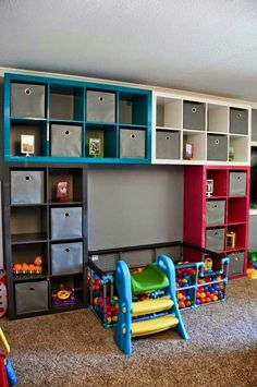 30 Best Cheap IKEA Kids Playroom Ideas for 2019 35 Playroom Organization cheap Ideas IKEA Kids Playroom Ikea Kids Playroom, Playroom Organization, Playroom Design, Daycare Storage, Organization Ideas, Playroom Mural, Children Playroom, Organizing Toys, Toy Room Storage